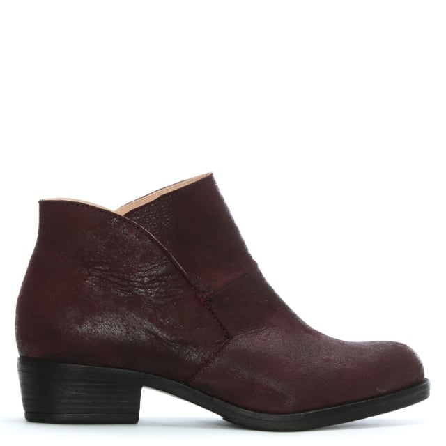 Burgundy Leather Shaped Top Line Ankle Boots