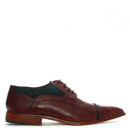 Burgundy Leather Suede Trim Brogues
