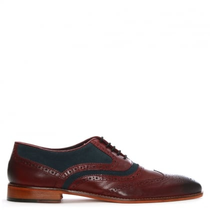 Burgundy Leather Suede Trim Lace Up Brogues