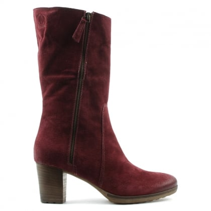Burgundy Leather Zip Detail Calf Boot