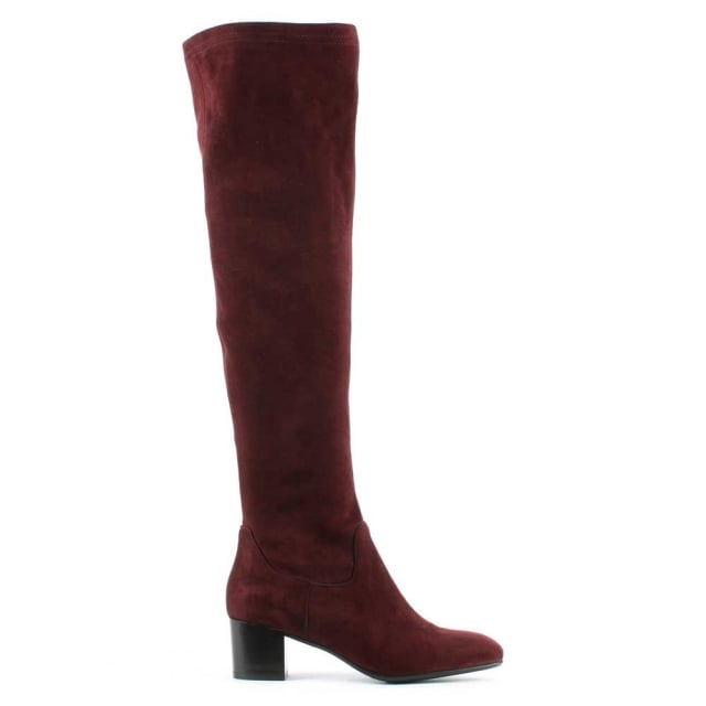 Burgundy Mid Heel Knee High Boot
