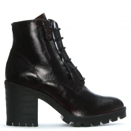 Burgundy Patent Leather Block Heel Ankle Boots