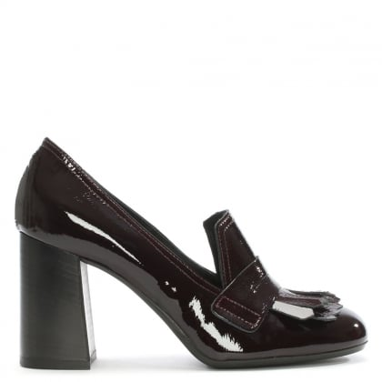 Burgundy Patent Leather Fringed Court Shoes