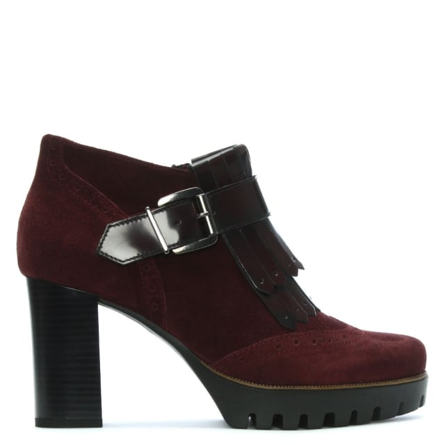 Burgundy Suede Brogue Heeled Ankle Boots
