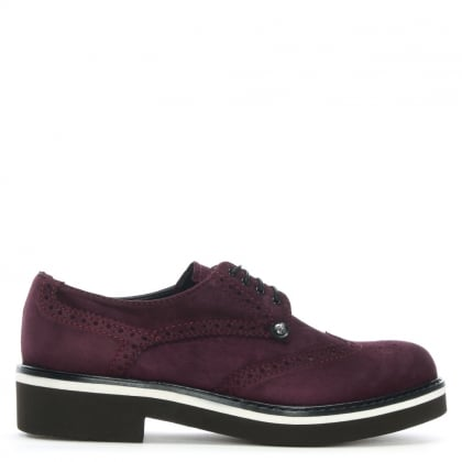 Burgundy Suede Lace Up Brogues