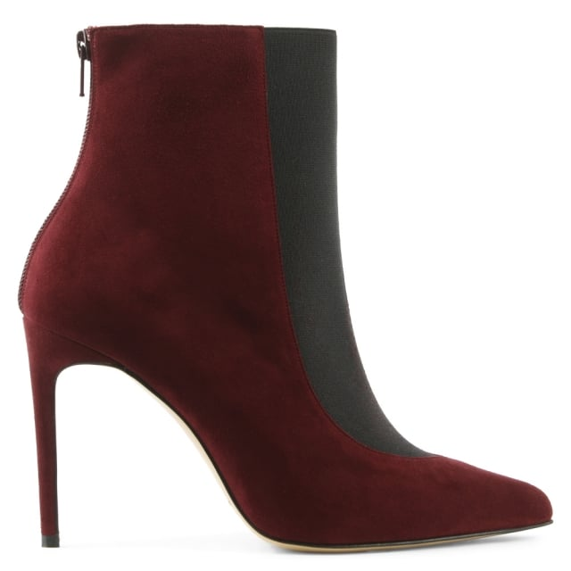 Burgundy Suede Pointed Toe Ankle Boot