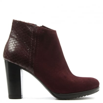 Burgundy Suede Reptile Paneled Ankle Boot