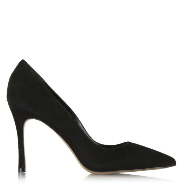 Buttercrambe Black Suede Pointed Court Shoe