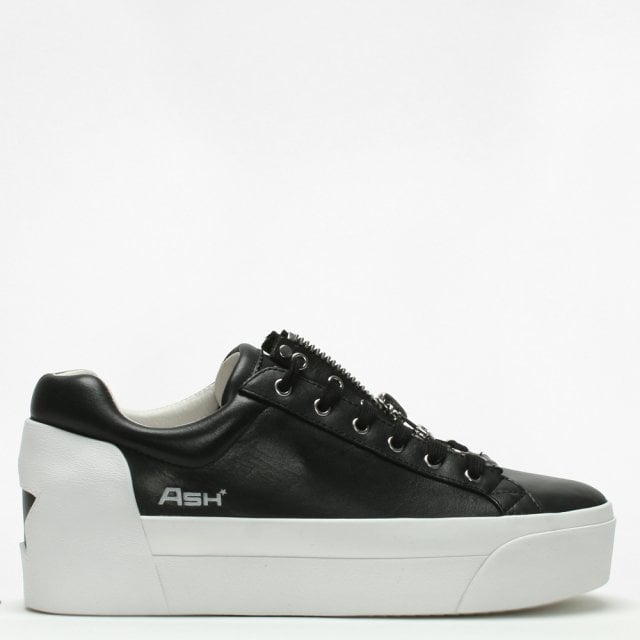 916d3502801 Ash Buzz Black Leather Flatform Trainers