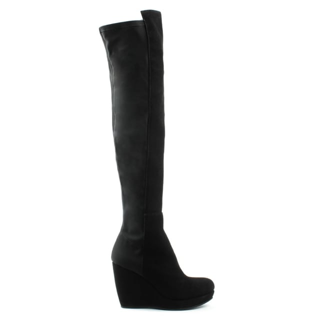 By Kelton Kora Black Suede Wedge Over Knee Boot