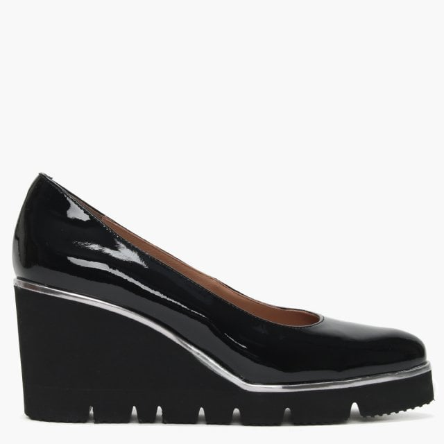 Patent Leather Cleated Wedge Court Shoes