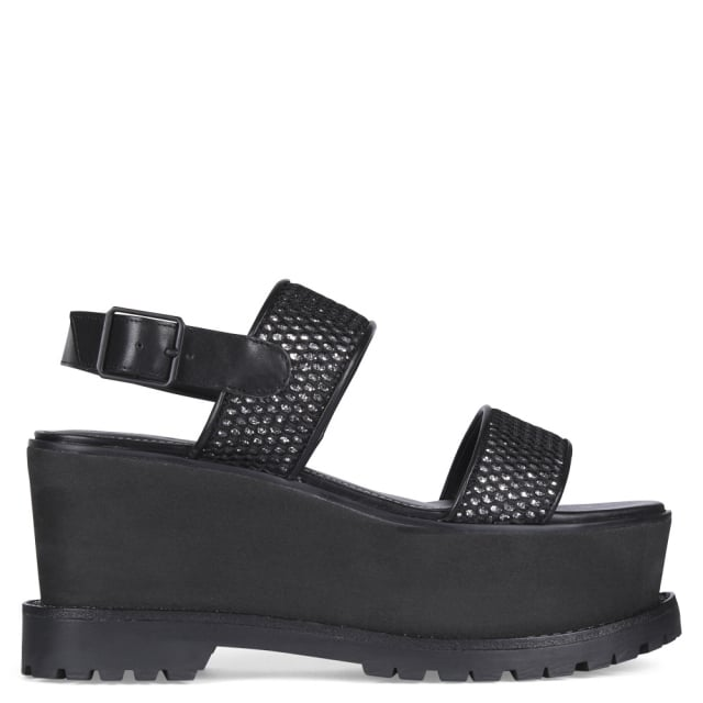 Black Glitter Cady Sandals Flatform Mesh 3cTFK1Jl