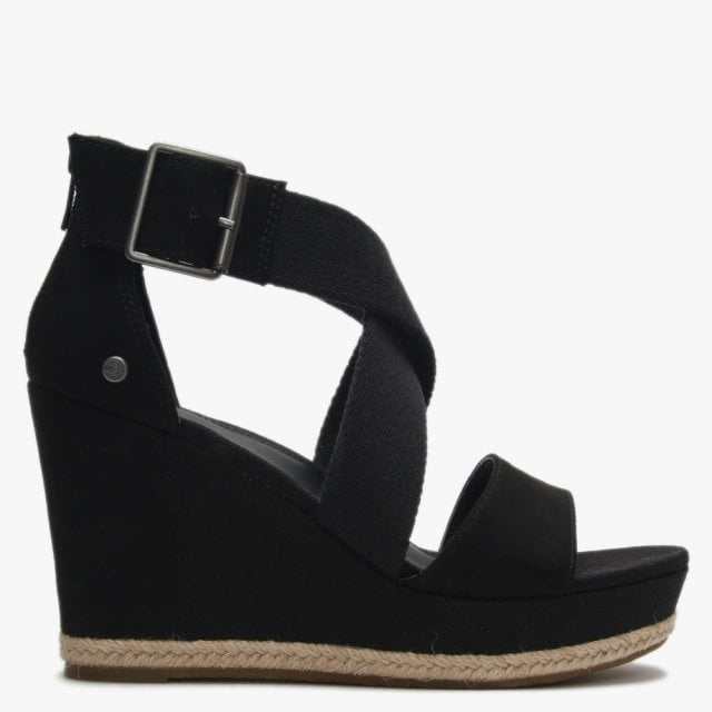 Ugg Calla Black Textile Cross Strap Wedge Sandals