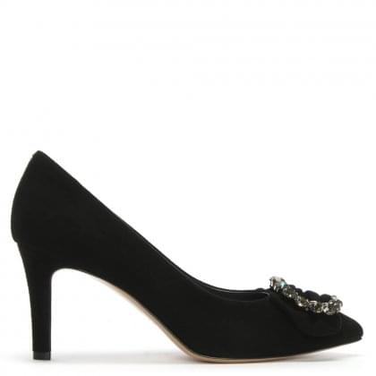 f9452fc7563 Attock Black Suede Embellished Court Shoes