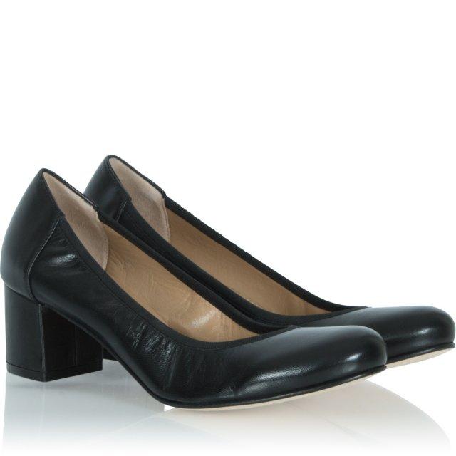 6fc04108124 Calpierre Black Low Block Leather Court Shoe