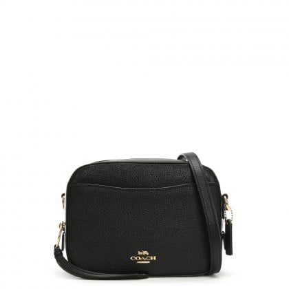 Camera Black Pebbled Leather Cross-Body Bag