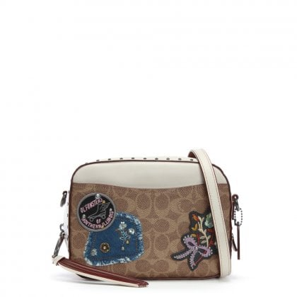 Camera Chalk & Black Copper Signature Canvas Patches Cross-Body Bag