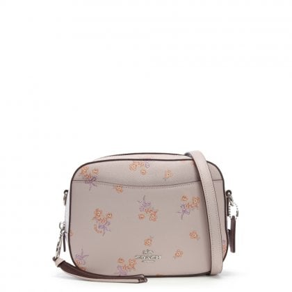 Camera Ice Pink Pebbled Leather Floral Bow Cross-Body Bag