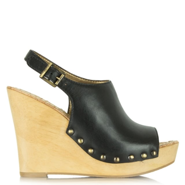 Camilla Black Leather Wedge Clog Sandal