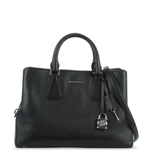 Camille Large Black Leather Satchel Bag