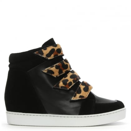 Camley Black Leather & Suede Concealed Wedge High Top Trainers