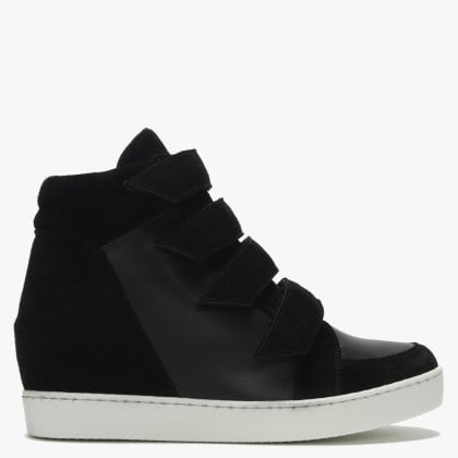 a8ca95fad56 Camley Black Leather   Suede Concealed Wedge High Top Trainers