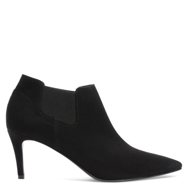 Campagne Black Suede Pointed Toe Ankle Boot