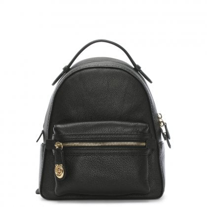Campus 23 Pebbled Black Leather Backpack