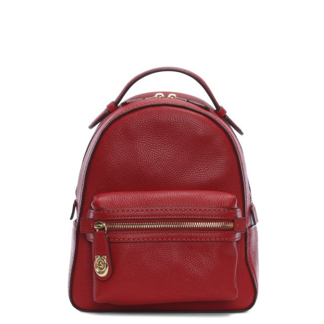 c243da535a81 Coach Campus 23 Pebbled Red Leather Backpack