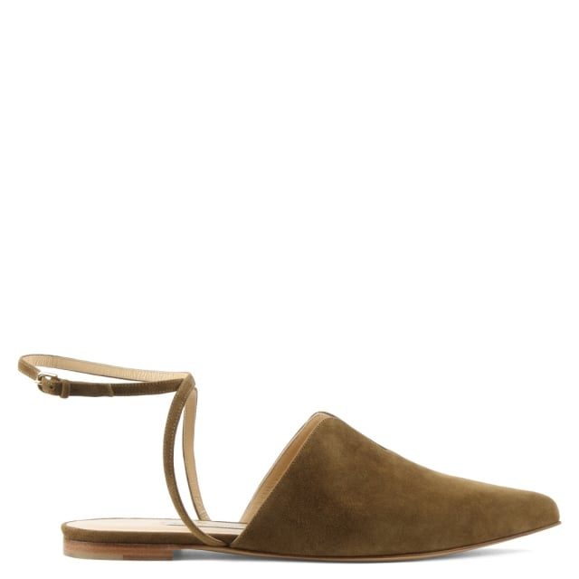 Candice Khaki Suede Pointed Toe Ankle Strap Flat