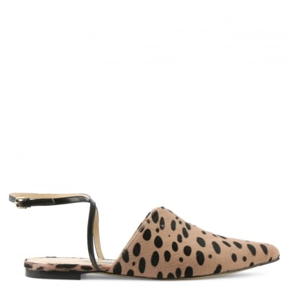 Candice Leopard Calf Hair Pointed Toe Ankle Strap Flat