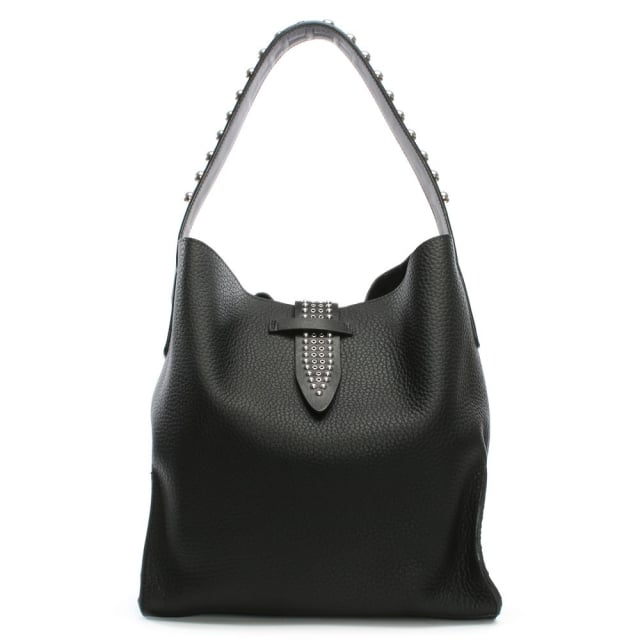 Cannes Black Leather Shoulder Bag