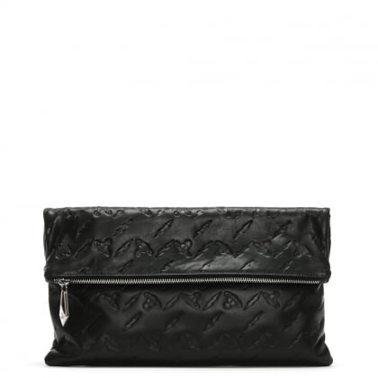 Canterbury Black Leather Orb Embossed Clutch Bag