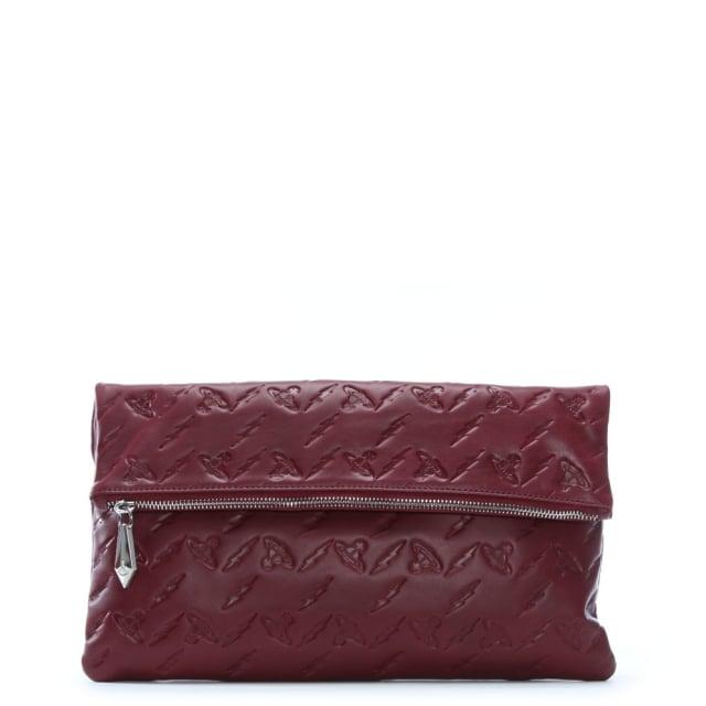 Vivienne Westwood Canterbury Burgundy Leather Orb Embossed Clutch Bag