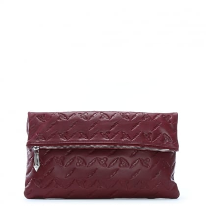 Canterbury Burgundy Leather Orb Embossed Clutch Bag