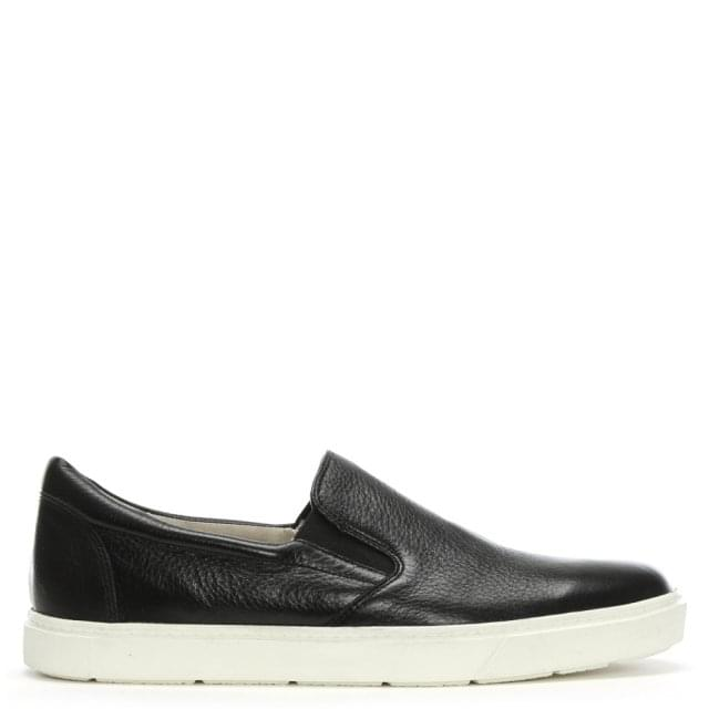 Caprice Black Leather Slip On Sneakers