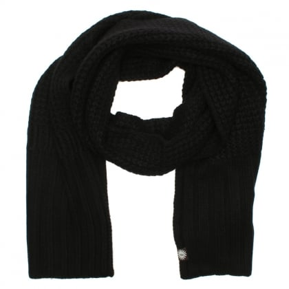 Cardi Black Textured Wool Scarf