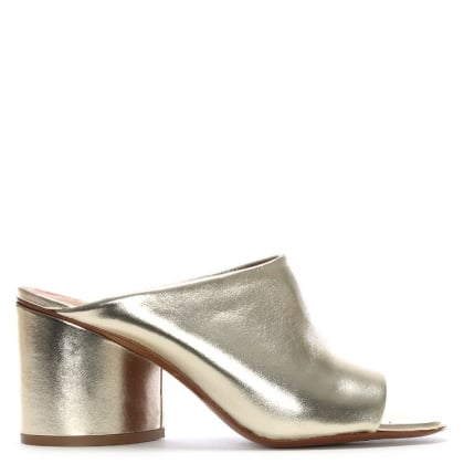 Caren Gold Metallic Leather Heeled Mules