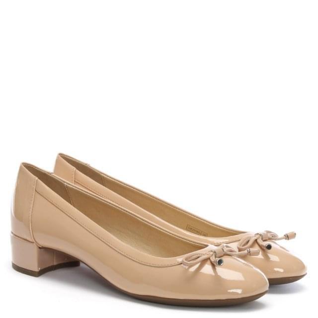 da478633cdff Geox Respira Careyx Beige Patent Leather Block Heel Ballet Pumps