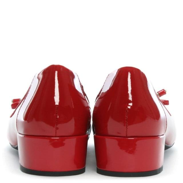 e6b541e2774c Geox Respira Careyx Red Patent Leather Block Heel Ballet Pumps