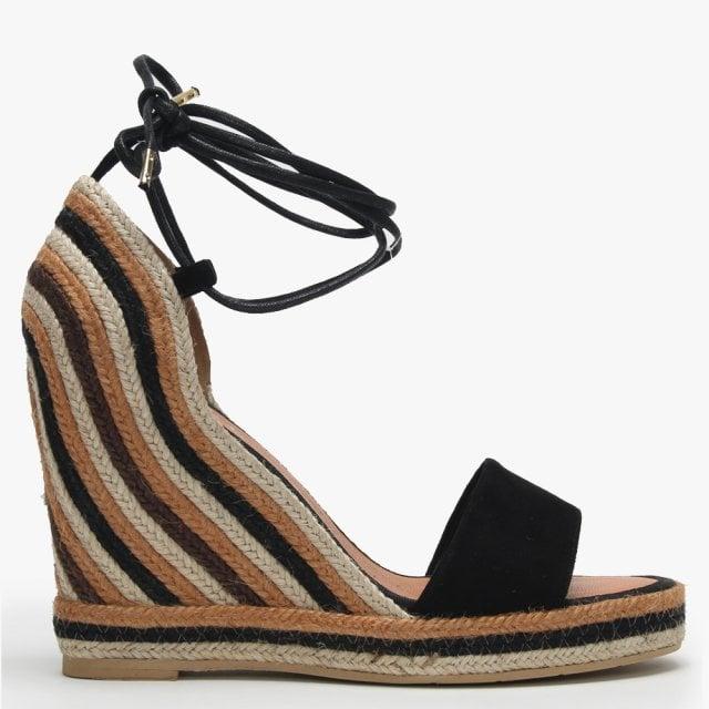 Daniel Caria Black Suede Striped Jute Wedge Espadrille Sandals