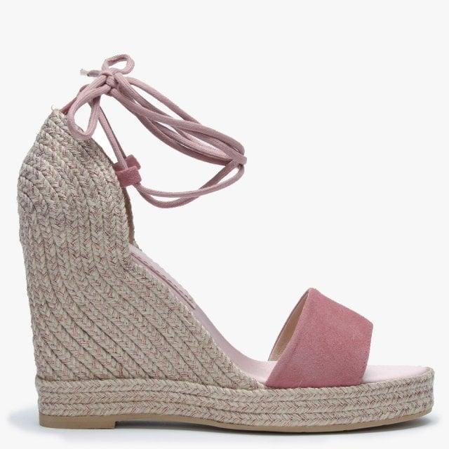 0a7cc14d339e8 Daniel Caria Pink Metallic Suede Jute Wedge Espadrille Sandals