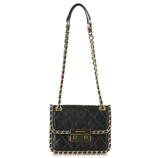 Michael Kors Carine Black Leather Mid Shoulder Quilted Chain Bag