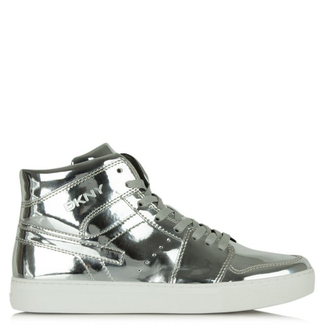 Carl Silver Mirror Metallic Lace Up High Top Trainer