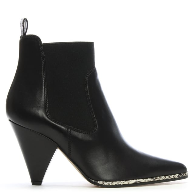 Carla 85 Black Leather Ankle Boots