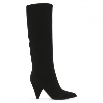 Carla 85 Black Suede Knee High Boots