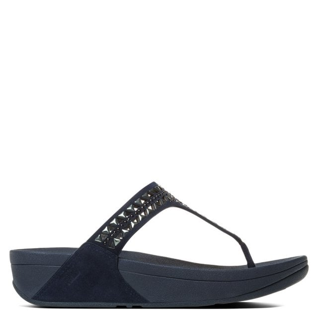 Carmel Toe Lazer Cut Navy Leather Sandal