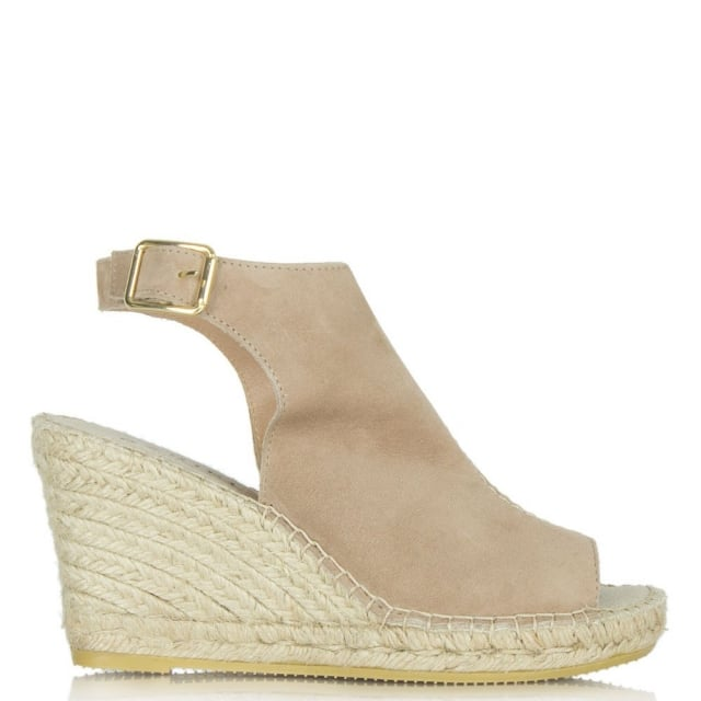 Carnaby Street Taupe Suede Ankle Strap Wedge Espadrille