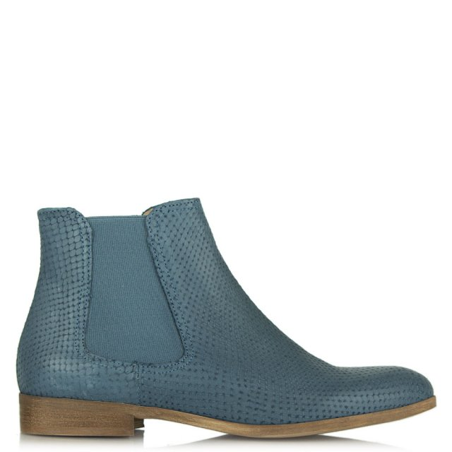 Caroll Paris Aciaml 94 Blue Leather Reptile Chelsea Boot