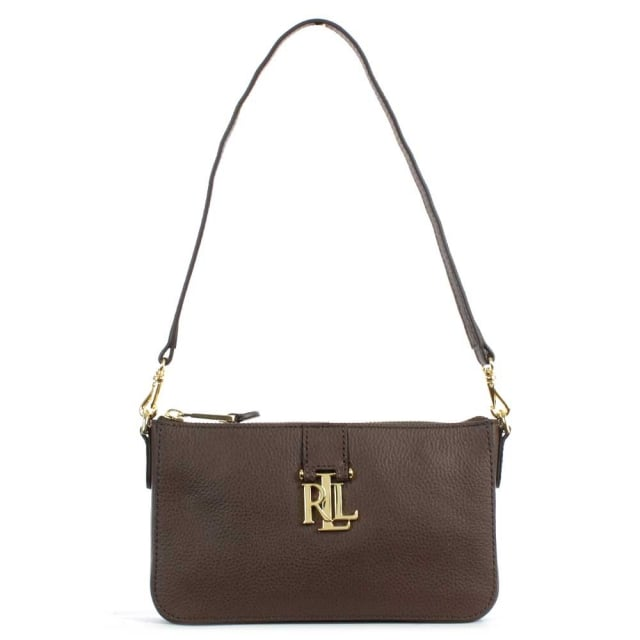 1c21a999dc0b Lauren by Ralph Lauren Carrington Brushed Brown Leather Mini Shoulder Bag